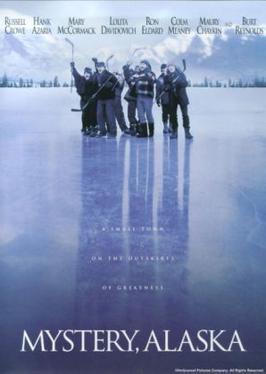 Grafika przedstawia okładkę hokejowego  filmu Mystery, Alaska.